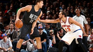 NEW YORK, NY - NOVEMBER 9:  Brook Lopez #11 of the Brooklyn Nets handles the ball against Joakim Noah #13 of the New York Knicks on November 9, 2016 at Madison Square Garden in New York City, New York.  NOTE TO USER: User expressly acknowledges and agrees that, by downloading and or using this photograph, User is consenting to the terms and conditions of the Getty Images License Agreement. Mandatory Copyright Notice: Copyright 2016 NBAE  (Photo by Nathaniel S. Butler/NBAE via Getty Images)