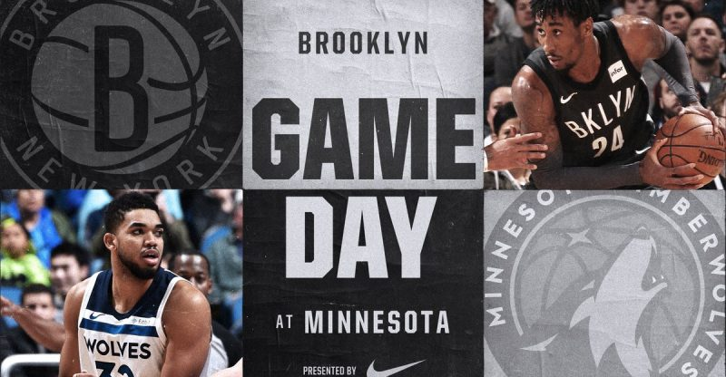 Brooklyn Nets at Minnesota Timberwolves 1-27-18 Graphic